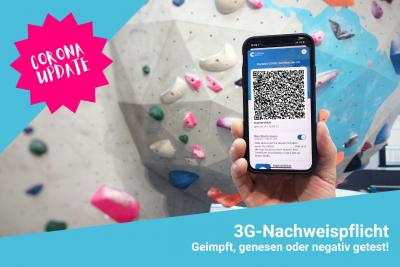Ab dem 19.08.21 besteht in der Boulderwelt Frankfurt die 3G-Nachweispflicht.