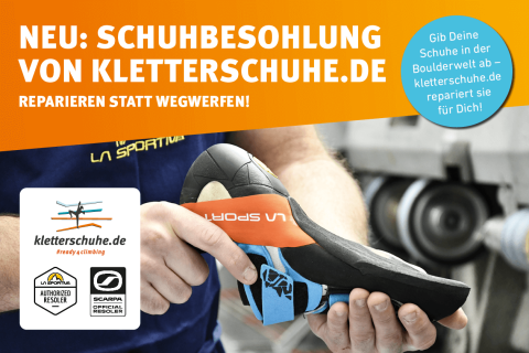Neu: Schuhbesohlung von Kletterschuhe.de